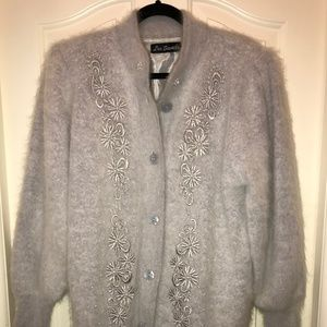 Lee Sands Missy Grey Angora Blend Cardigan